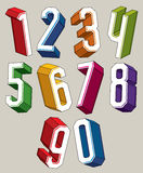 3d geometric numbers set in blue and green colors. Royalty Free Stock Images