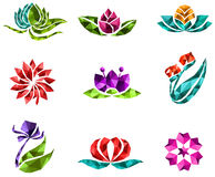 3D geometric polygon jewelry of creative crystal flower flora su Royalty Free Stock Photography