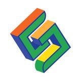 3D Geometric S Logo Stock Photo