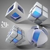 3d Geometric Set. 3d geometric cubes and globes, vector illustration Royalty Free Stock Images