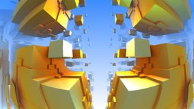 3D geometric shapes from cubes Stock Photo