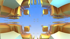 3D geometric shapes from cubes Royalty Free Stock Image