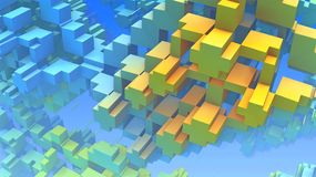 3D geometric shapes, cubes and rectangles floating in space Royalty Free Stock Photo
