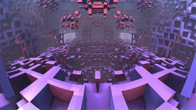 3D geometric shapes floating in space. 3D Labyrinth or Maze Stock Photography
