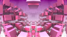 3D geometric shapes floating in space. 3D Labyrinth or Maze Stock Images