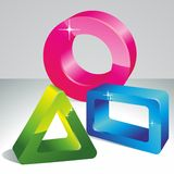 3d geometric shapes. Geometrical 3D shape. Abstract shapes. It can be used as a logo royalty free illustration