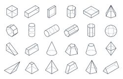 3D geometric shapes. Isometric linear forms, cube cone cylinder pyramid low polygon objects. Vector minimal isometric stock illustration