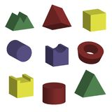 3D geometric shapes with isometric views. Vector flat objects isolated. Science of math and geometry Colored building blocks for children. Construction square stock illustration