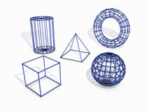 3d geometric shapes. 3D rendered blue plastic geometric shapes Royalty Free Stock Photo