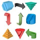 3D Geometric Shapes Vector Illustration. Set of 3D Geometric Shapes and Arrows, Vector Illustration Stock Photo
