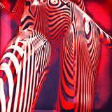 3d Geometric Stripped Pattern Illustration Art. Line Distortion Illusion Design, Abstract Woman Body Figure, Zebra Mannequin, Stripped Dummy Stock Image