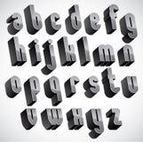 3d geometrische gewaagde doopvont, zwart-wit dimensionaal alfabet Stock Afbeeldingen