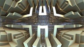 3D geometrische vormen die in ruimte, 3D Labyrint of Labyrint drijven Royalty-vrije Stock Afbeeldingen