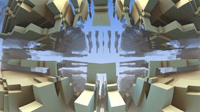 3D geometrische vormen die in ruimte, 3D Labyrint of Labyrint drijven Stock Foto