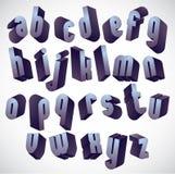 3d geometrisk djärv stilsort, monokromt dimensionellt alfabet royaltyfri illustrationer