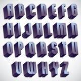 3d geometrisk djärv stilsort, monokromt dimensionellt alfabet vektor illustrationer