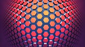 3D Geometryczny tło od czerwonych sześciokątów Zdjęcie Royalty Free