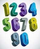 3d geplaatste aantallen, kleurrijke glanzende cijfers voor ontwerp Stock Afbeeldingen