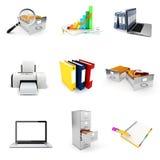 3d geplaatste bureauelementen Stock Afbeeldingen