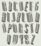 3d geplaatste doopvont, dunne en lange dimensionale brieven Stock Foto