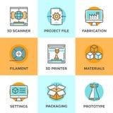 3D geplaatste pictogrammen van de Druklijn Royalty-vrije Stock Fotografie