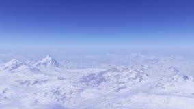 3d geproduceerd de winterlandschap: Nevelige bergen Stock Foto's