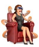 3D Geschäftsfrau, die einen furchtsamen Film mit gl der virtuellen Realität aufpasst lizenzfreie abbildung