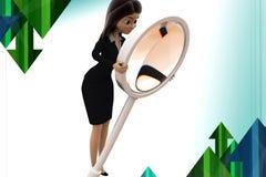 3d Geschäftsfrau-Suchillustration Stockbild