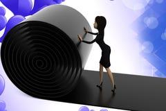 3d Geschäftsfraurollenweg illstration Stockfotos