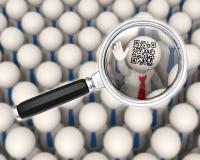 3d Geschäftsleute - QR-Code - Vergrößerungsglasfokus Stockbilder