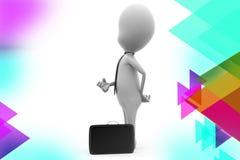 3d Geschäftsmann-Aktenkofferillustration Stockbilder
