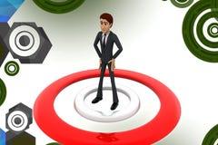 3d Geschäftsmann auf Ziel illstration Lizenzfreie Stockbilder