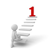 3d Geschäftsmann, der zu seinem roten Ziel der Nr. 1 auf die Schritte steigert vektor abbildung