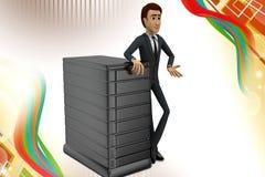 3d Geschäftsmann mit Server illstration Lizenzfreie Stockfotografie