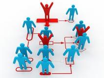 3d Geschäftsmann-Perspektivenansicht des Organisationsdiagramms Stockfotos
