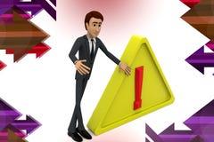 3d Geschäftsmann warnendes Sig illstration Lizenzfreies Stockfoto