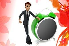 3d Geschäftsmann-Weckerillustration Stockfoto