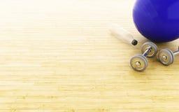 3d Geschiktheidsbal en gewichten Royalty-vrije Stock Fotografie