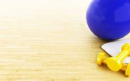 3d Geschiktheidsbal en gewichten Stock Foto