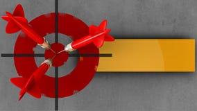 3d geschilderd doel met drie pijltjes Stock Fotografie