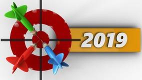 3d geschilderd doel met het jaarteken van 2019 Stock Afbeelding