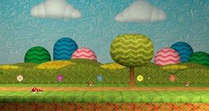 3D geschotene het niveauscherm van het videospelletjemilieu/3D illustratie als achtergrond royalty-vrije illustratie