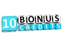 3D Get 10 Bonus Credits Block Letters. Over white background Royalty Free Stock Image