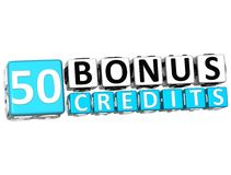 3D Get 50 Bonus Credits Block Letters. Over white background Stock Image