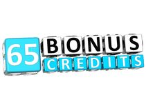 3D Get 65 Bonus Credits Block Letters. Over white background Royalty Free Stock Image