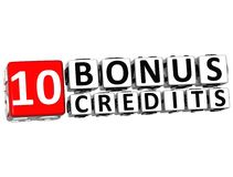 3D Get 10 Bonus Credits Block Letters. Over white background Royalty Free Stock Photo