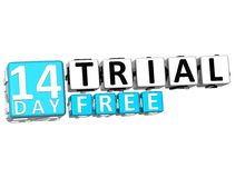 3D Get 14 Day Trail Free Block Letters. Over white background Royalty Free Stock Images