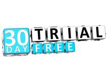 3D Get 30 Day Trail Free Block Letters. Over white background Stock Image