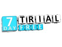 3D Get 7 Day Trail Free Block Letters. Over white background Royalty Free Stock Image