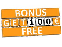 3D Get Free Bonus Cube text. On white background Royalty Free Stock Image